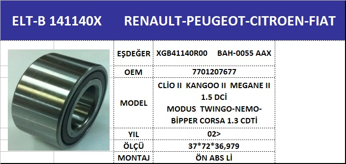 AKS BİLYASI ÖN B141140X CLIO-III KANGO-II MEGANE-II MODUS LOGAN SANDERO ABSLİ