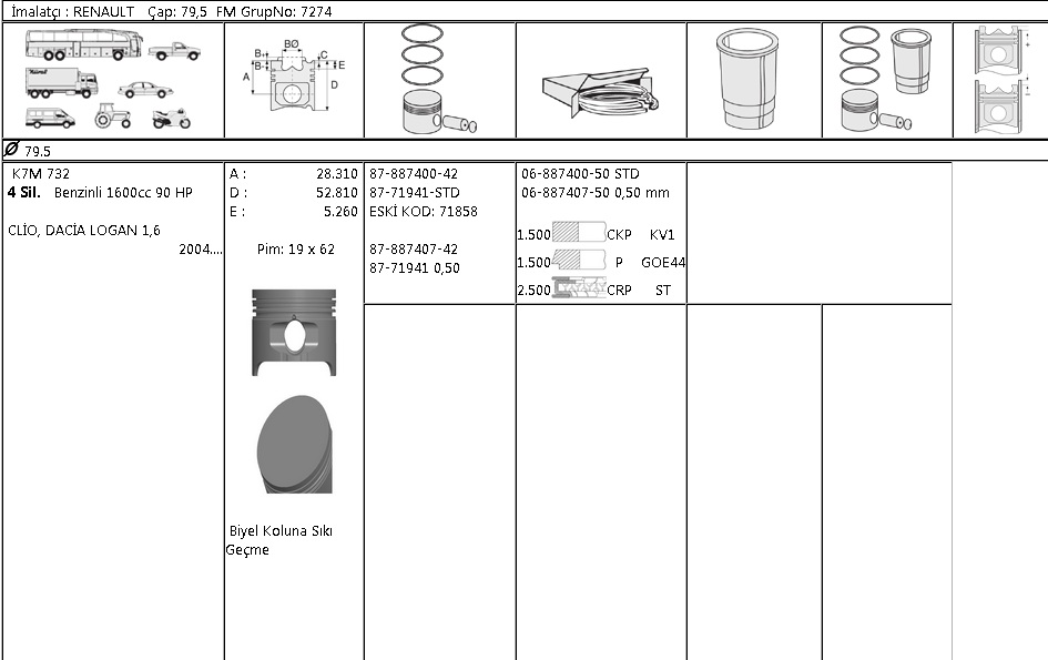 PİSTON SEGMAN 8771941 STD CLIO LOGAN 1.6 BENZİNLİ K7M