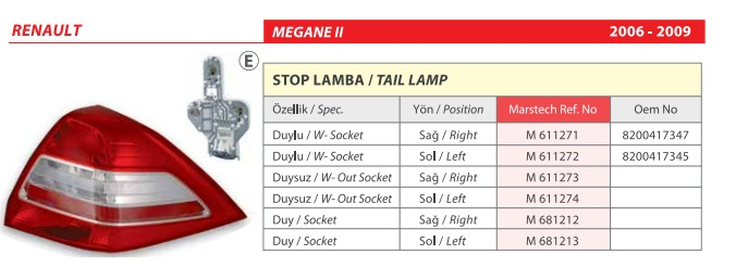 STOP SOL 611274 MEGANE 06-10 DUYSUZ