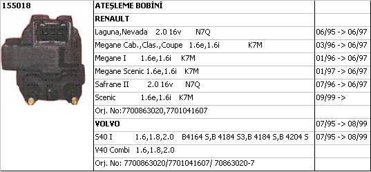 BOBİN (SİYAH SOKET) 155018 LAGUNA 2.0-16V N7Q SOL S40
