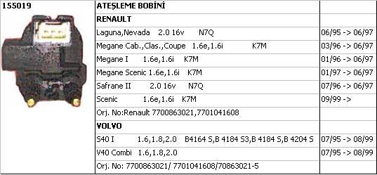 BOBİN (BEYAZ SOKET) 155019 LAGUNA 2.0-16V N7Q SAĞ S40